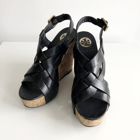 Authentic TORY BURCH Black Leather Wedges