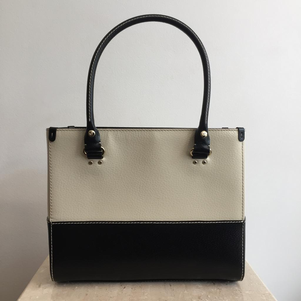 Authentic KATE SPADE Black & Ivory Bucket Bag with Top Handle