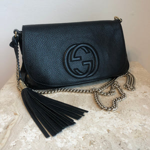 d246f1edc82a97 Authentic GUCCI Soho Clutch with Chain Bag – Valamode