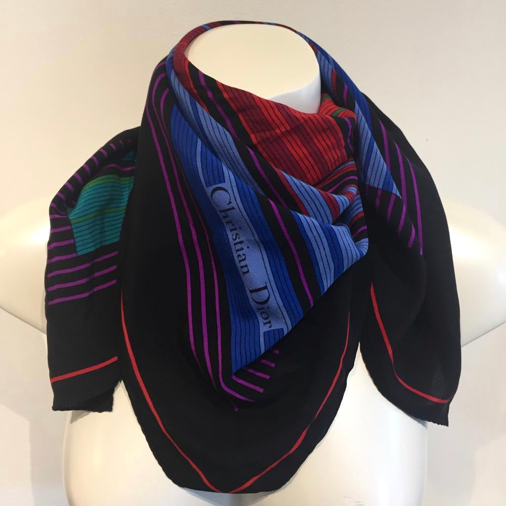 Authentic CHRISTIAN DIOR Vintage Multi-Colour Scarf