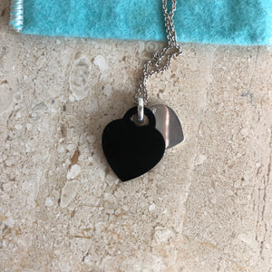 Authentic TIFFANY & CO. Sterling Silver and Onyx Double Heart