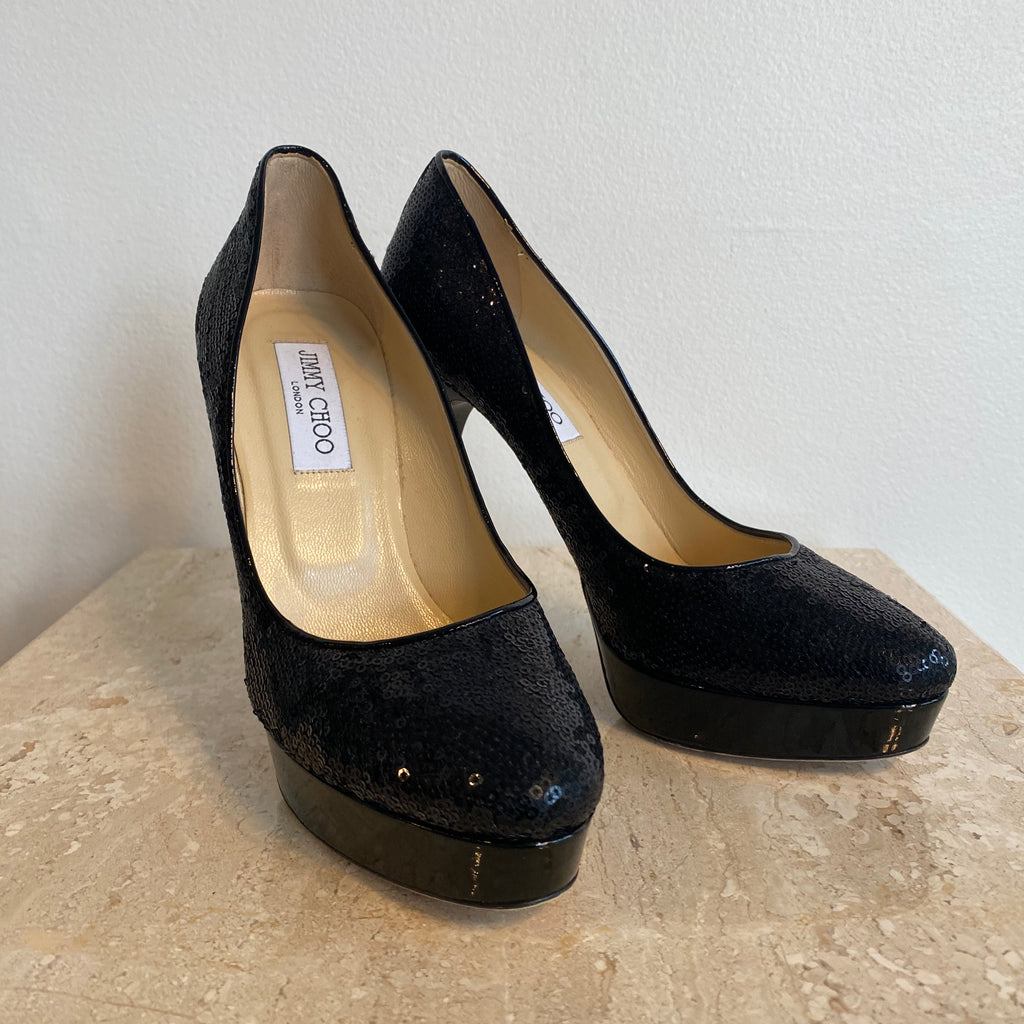 Authentic JIMMY CHOO Black Sequent Pumps Size 8.5