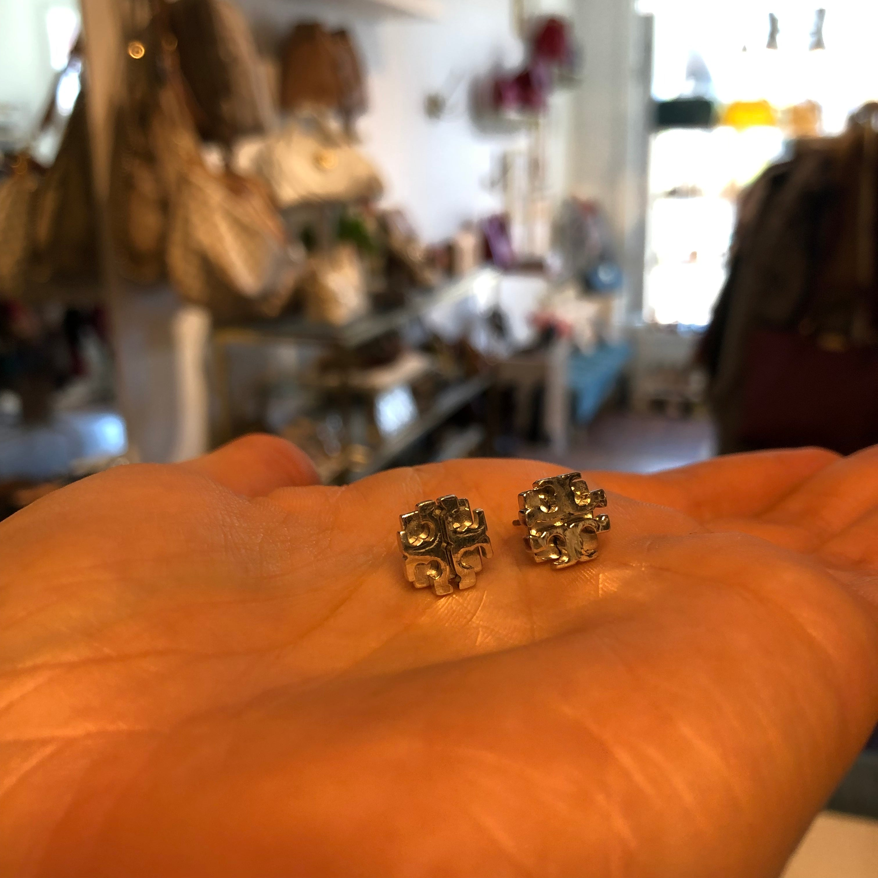 Authentic TORY BURCH Silver Tone Earrings