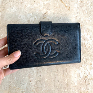 Authentic CHANEL Black Caviar Leather Timeless wallet