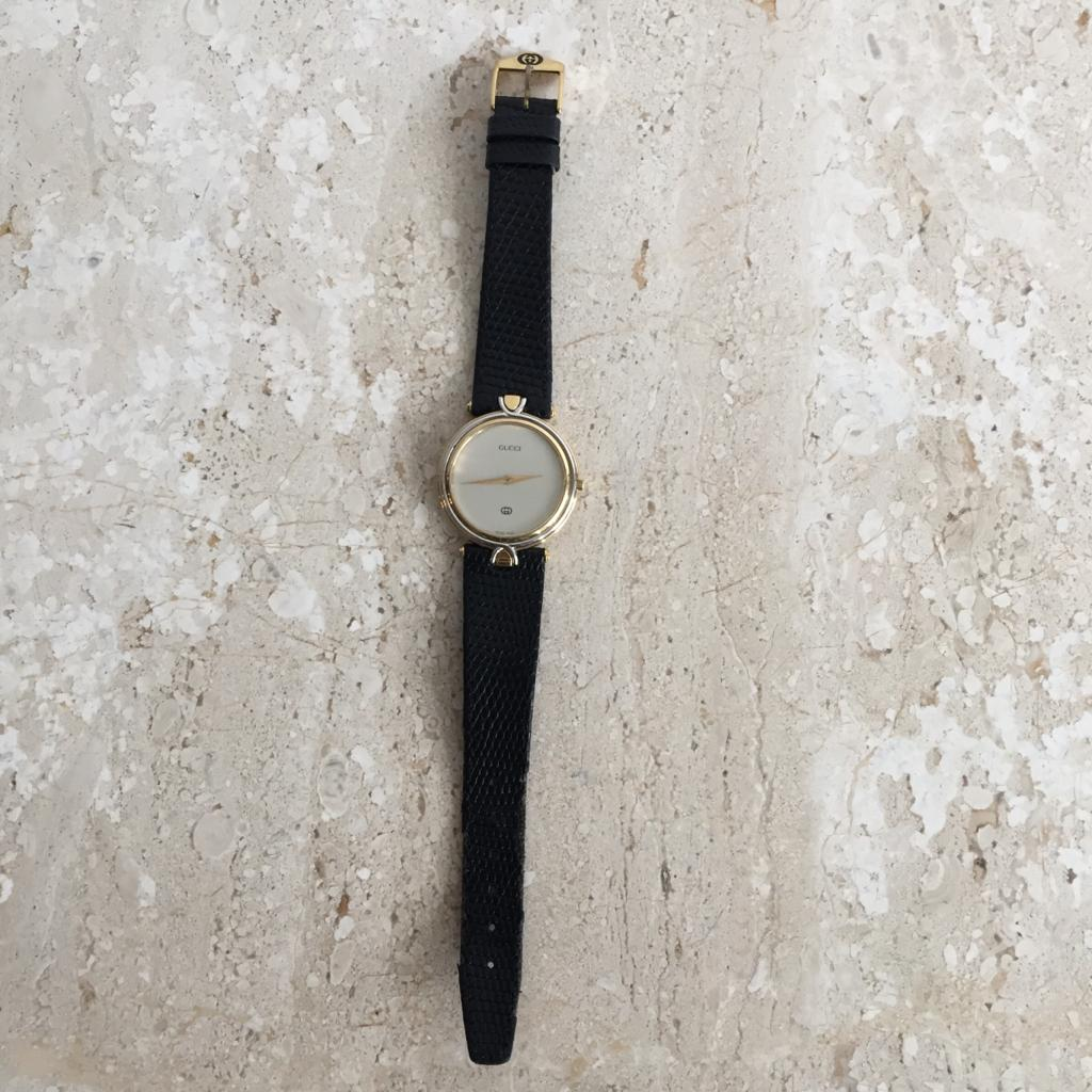 Authentic GUCCI Two-Tone G-Timeless Vintage Womens Leather Strap Watch