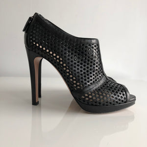 Authentic PRADA Perforated Leather Open Toe Booties Size 8