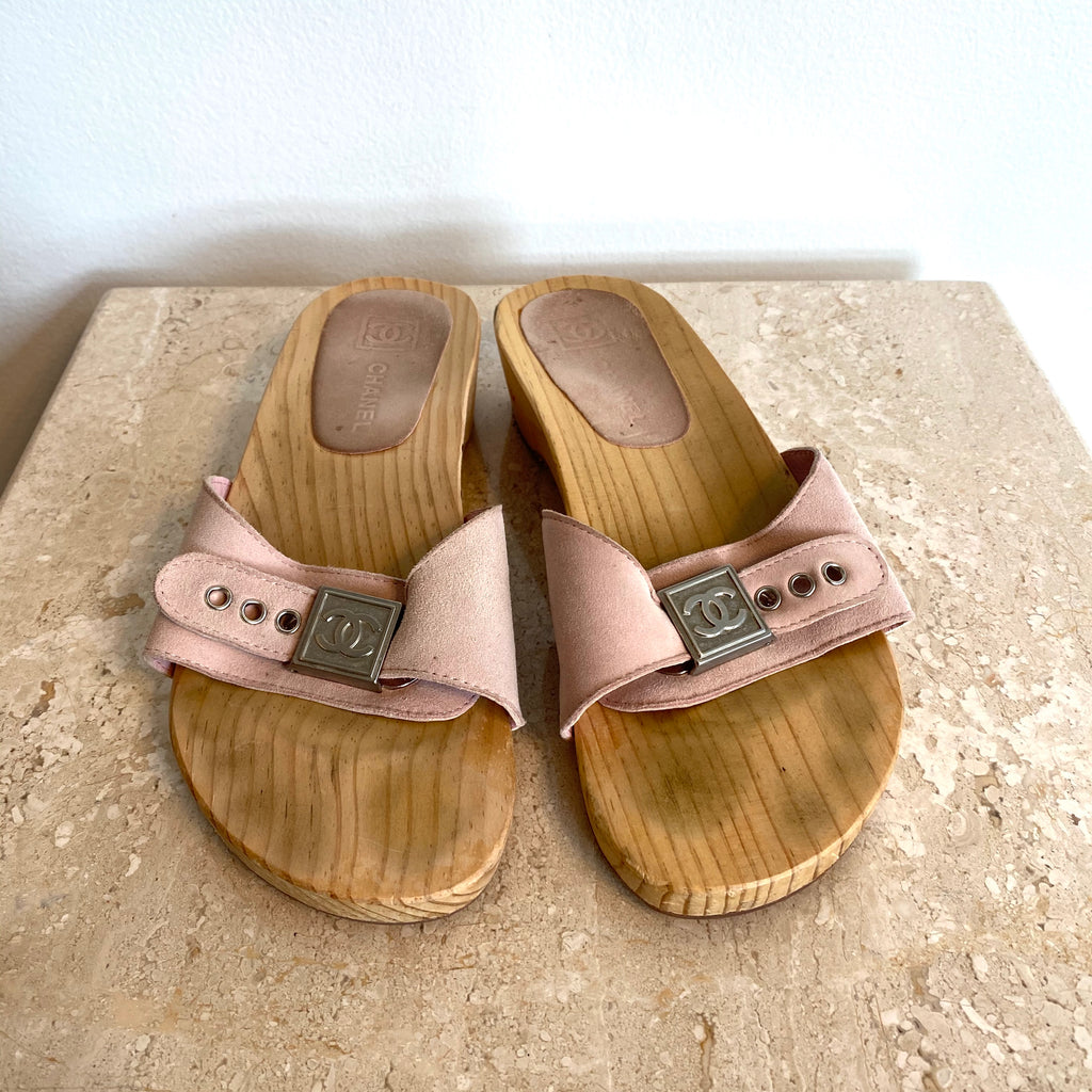 Authentic CHANEL Pink Suede Clog Size7