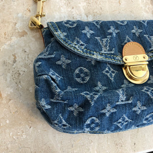 Authentic LOUIS VUITTON Small Denim Pleaty Bag