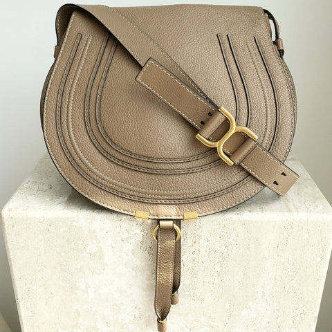 Authentic CHLOE Tan Marcie Medium Grained Leather Crossbody Bag