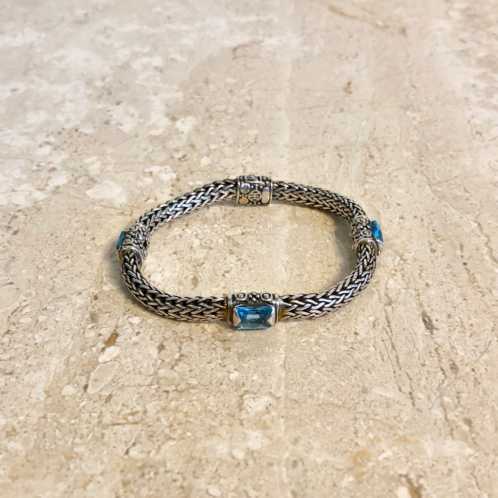 Authentic JOHN HARDY Sterling Silver and Blue Topaz Bracelet