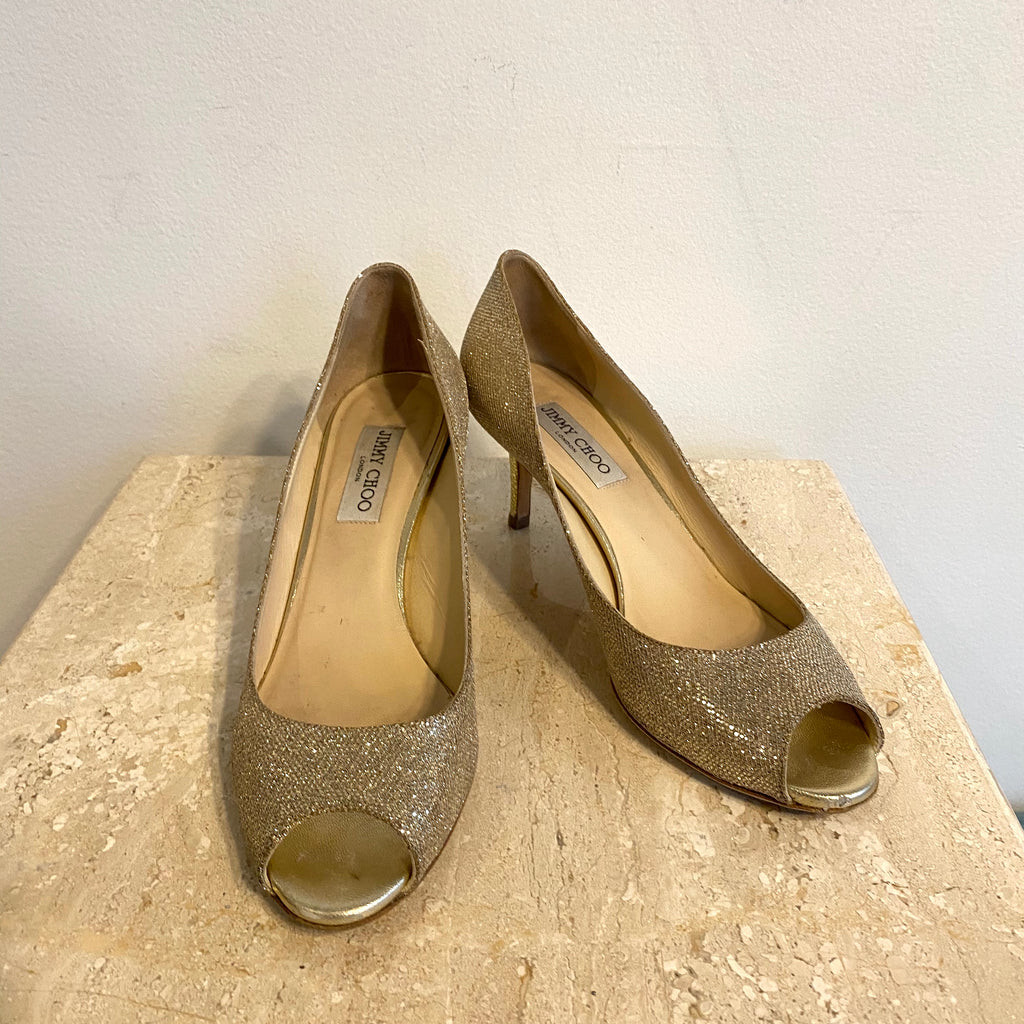 Authentic JIMMY CHOO Gold Lame Peep Toe Pump - Size 10