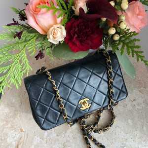 "SECOND PAYMENT Authentic CHANEL Vintage Black Lambskin 7"" Mini Crossbody"