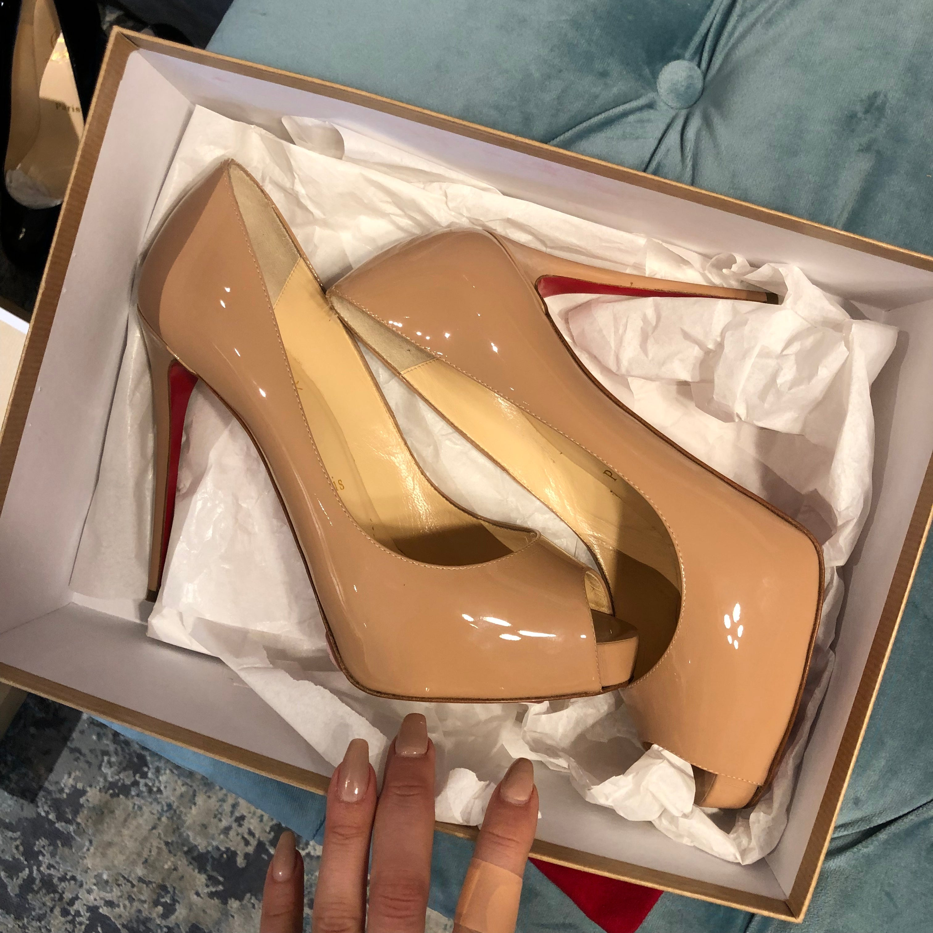 NEW PRODUCT - Authentic CHRISTIAN LOUBOUTIN - Nude Patent - 7.5 - Peep Toe Pump