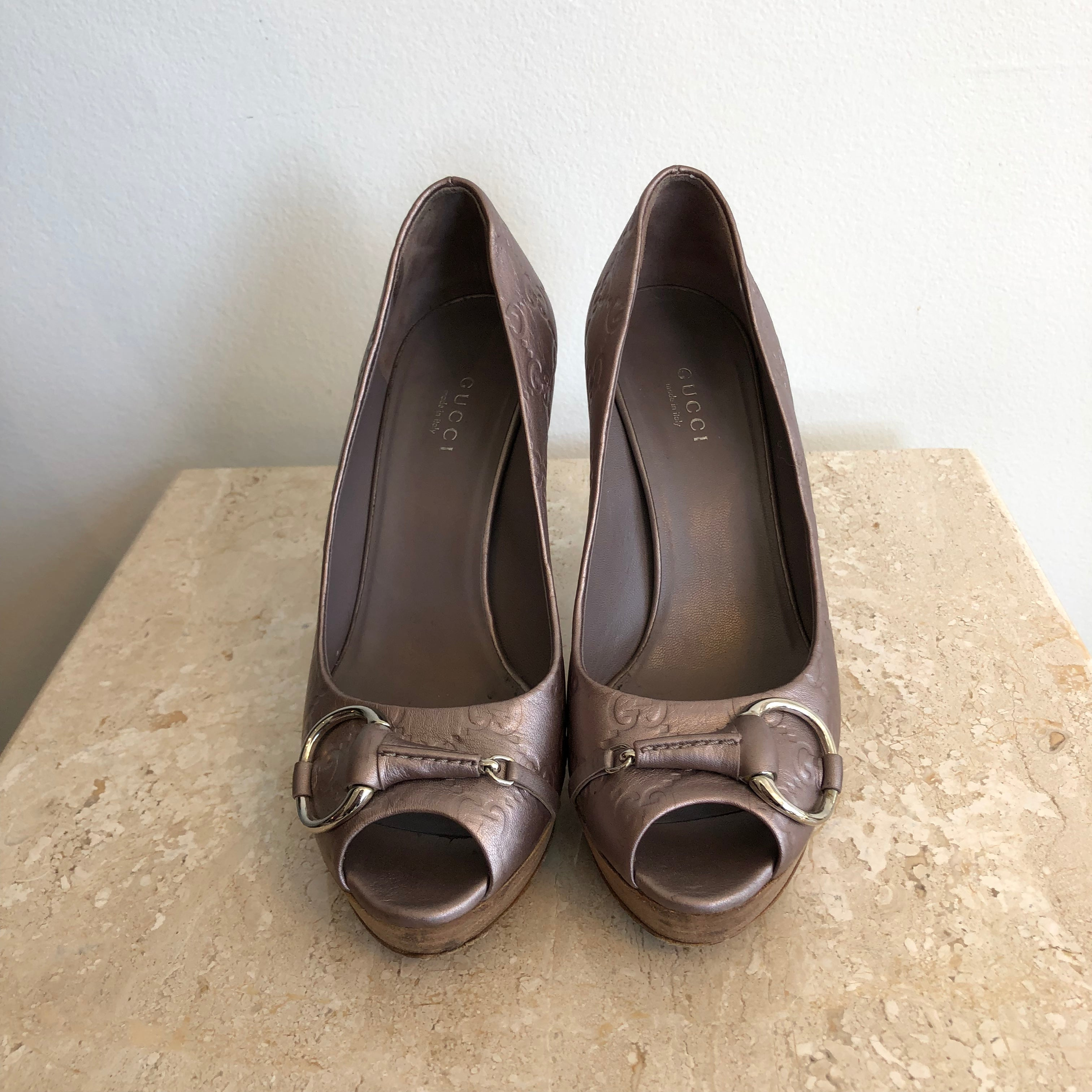 Authentic GUCCI Guccissima Horsebit Lilac Metallic Shoes Size 6.5