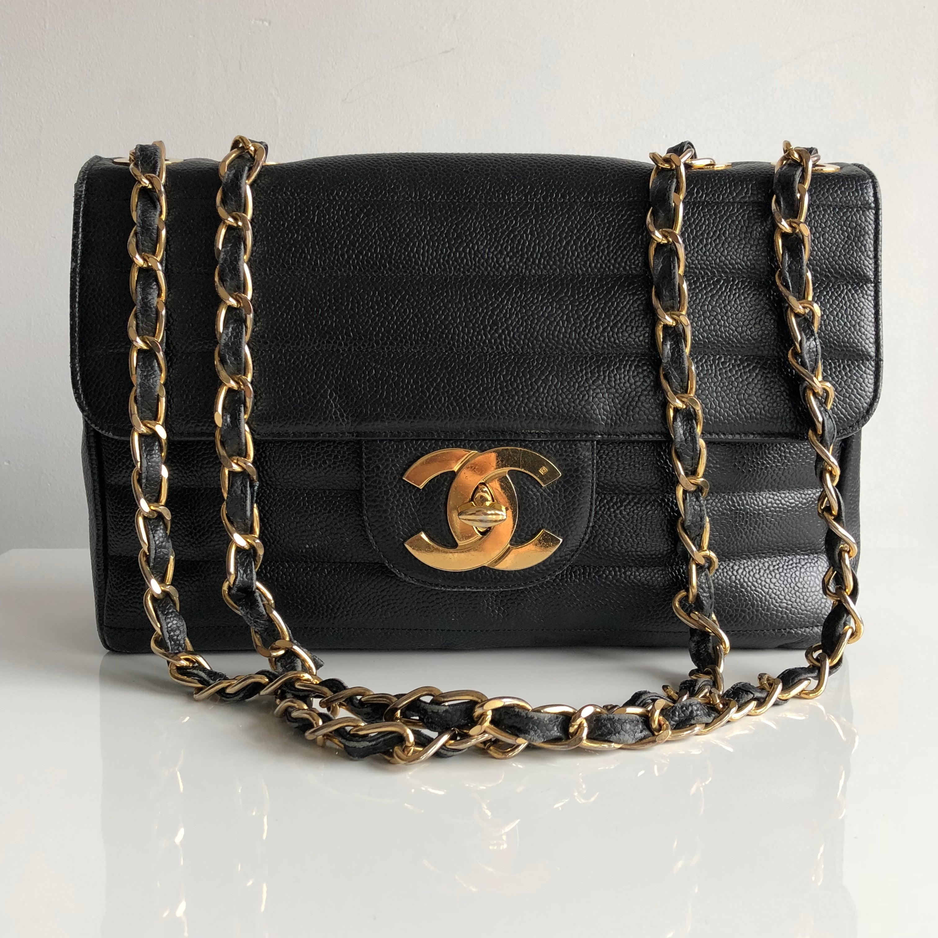 Authentic CHANEL Horizontal Quilt Jumbo Flap Bag