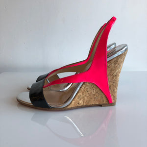 Authentic CHRISTIAN LOUBOUTIN Black Neon Pink Patent Cork Slingback Size 7.5