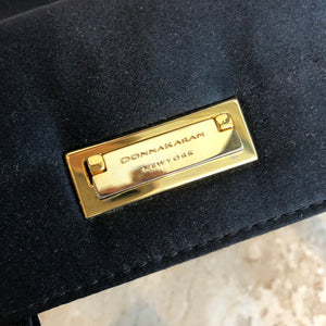 Authentic DONNA KARAN Mini Black Satin Evening Bag