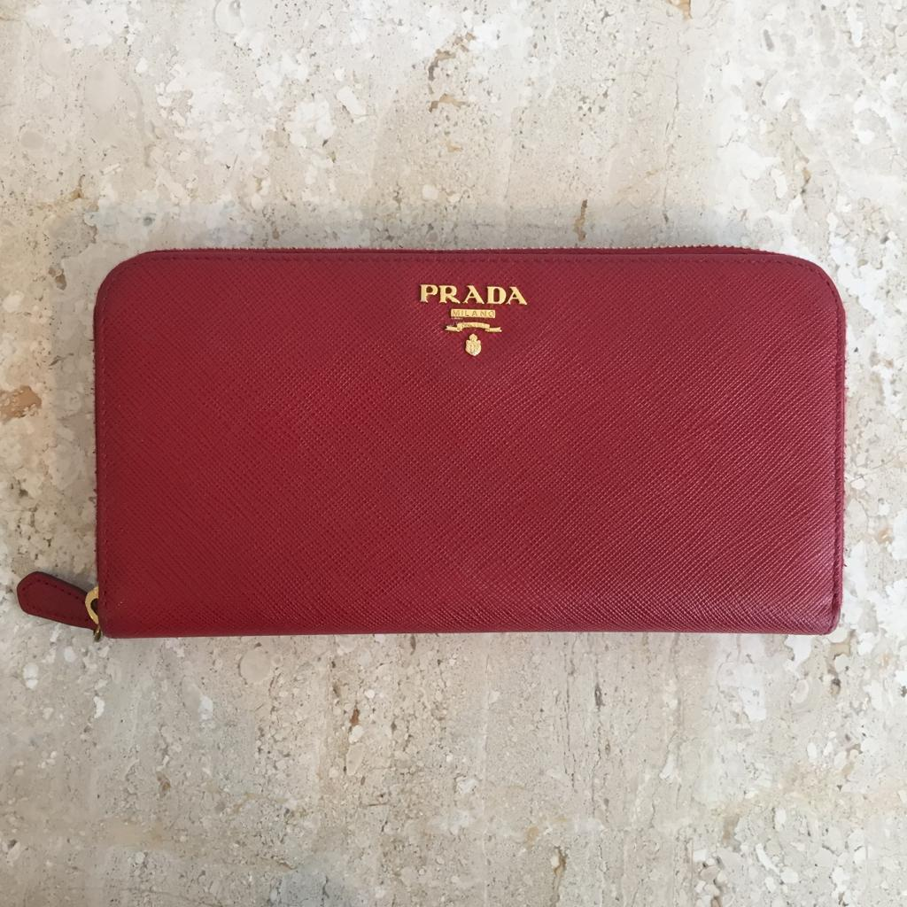 Authentic PRADA Saffiano Zip Around Red Wallet