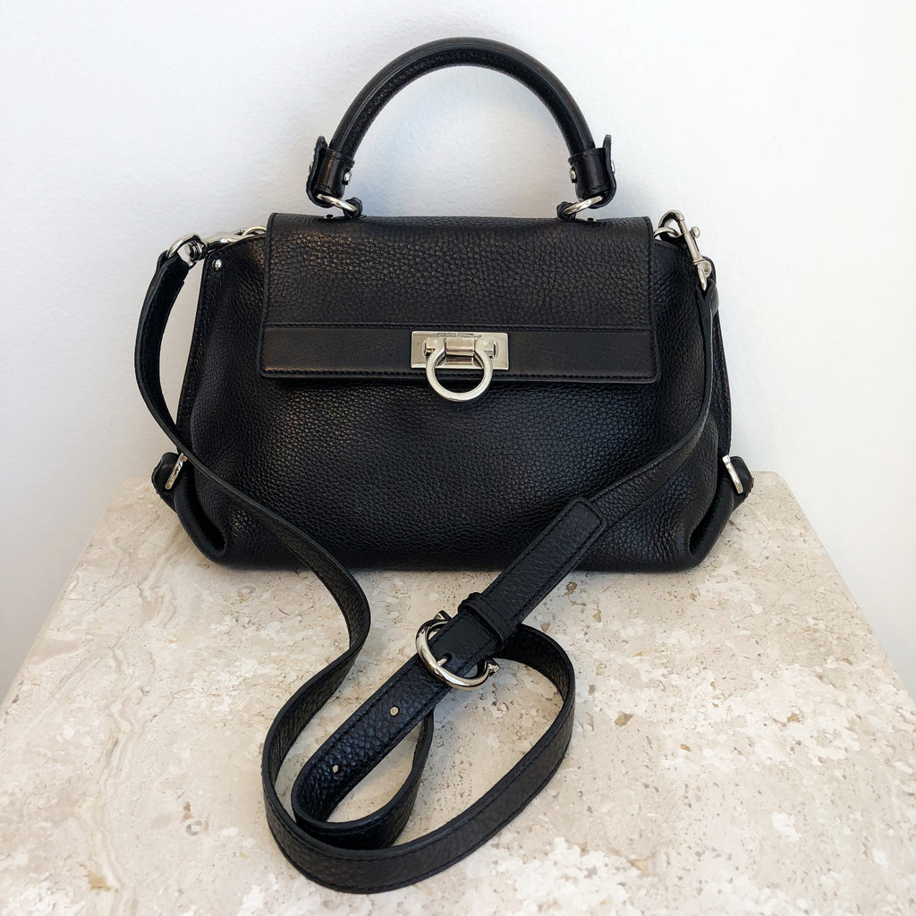 Authentic SALVATORE FERRAGAMO Black Leather Crossbody
