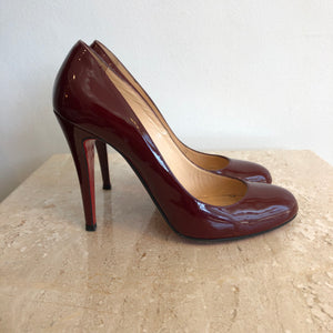 Authentic CHRISTIAN LOUBOUTIN Patent Burgandy Ron Ron Size 36.5