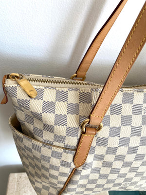Authentic LOUIS VUITTON Totally Damier Azur Totally MM