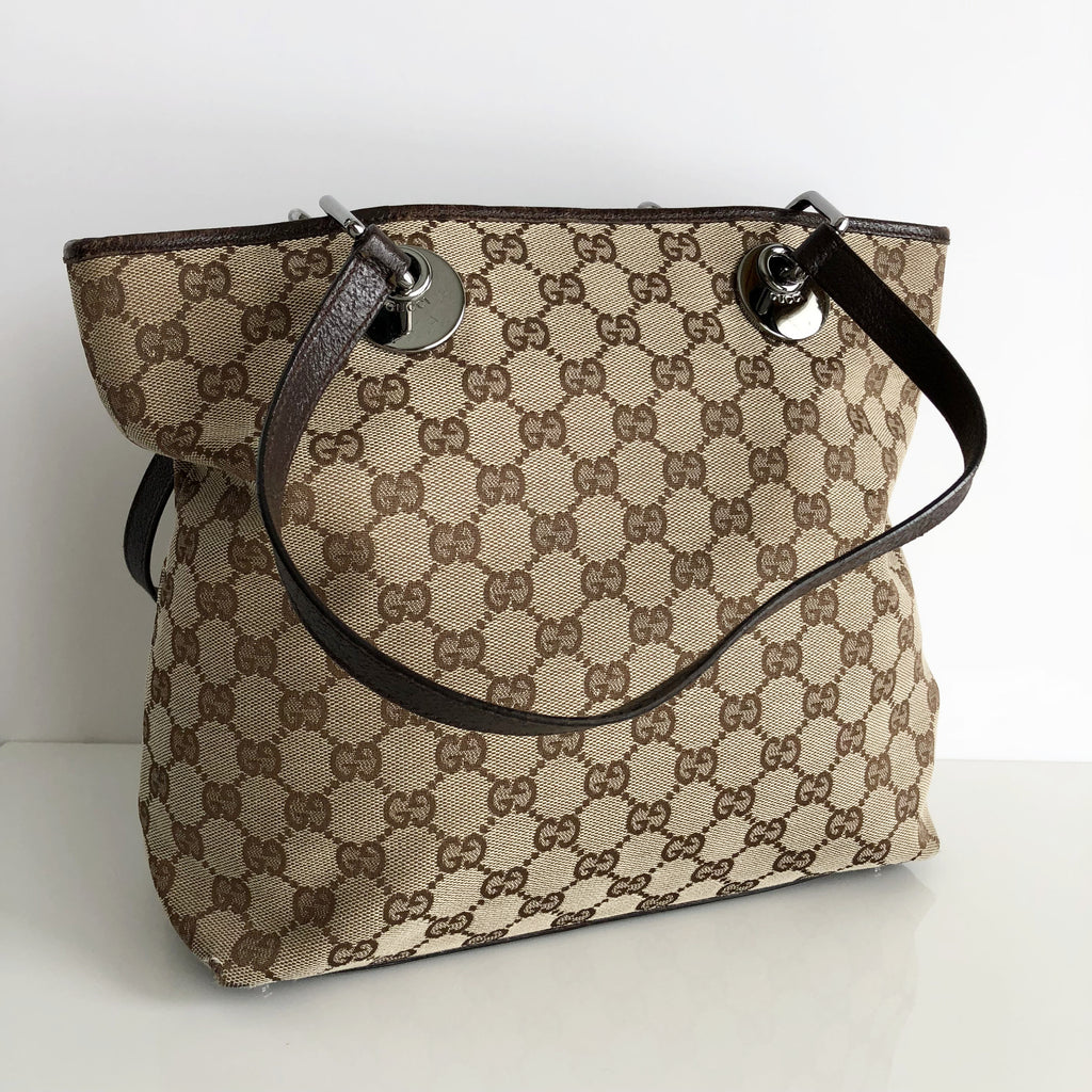 4d0536003 Authentic GUCCI Brown Monogram Small Tote Bag