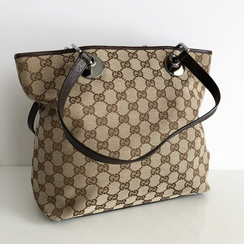 Authentic GUCCI Brown Monogram Small Tote Bag