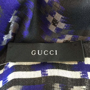 Authentic GUCCI 100% Silk Black/Royal Purple Scarf