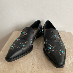 Authentic VALENTINO Nappa Star Studded Cabochon Black leather Loafers - 9.5