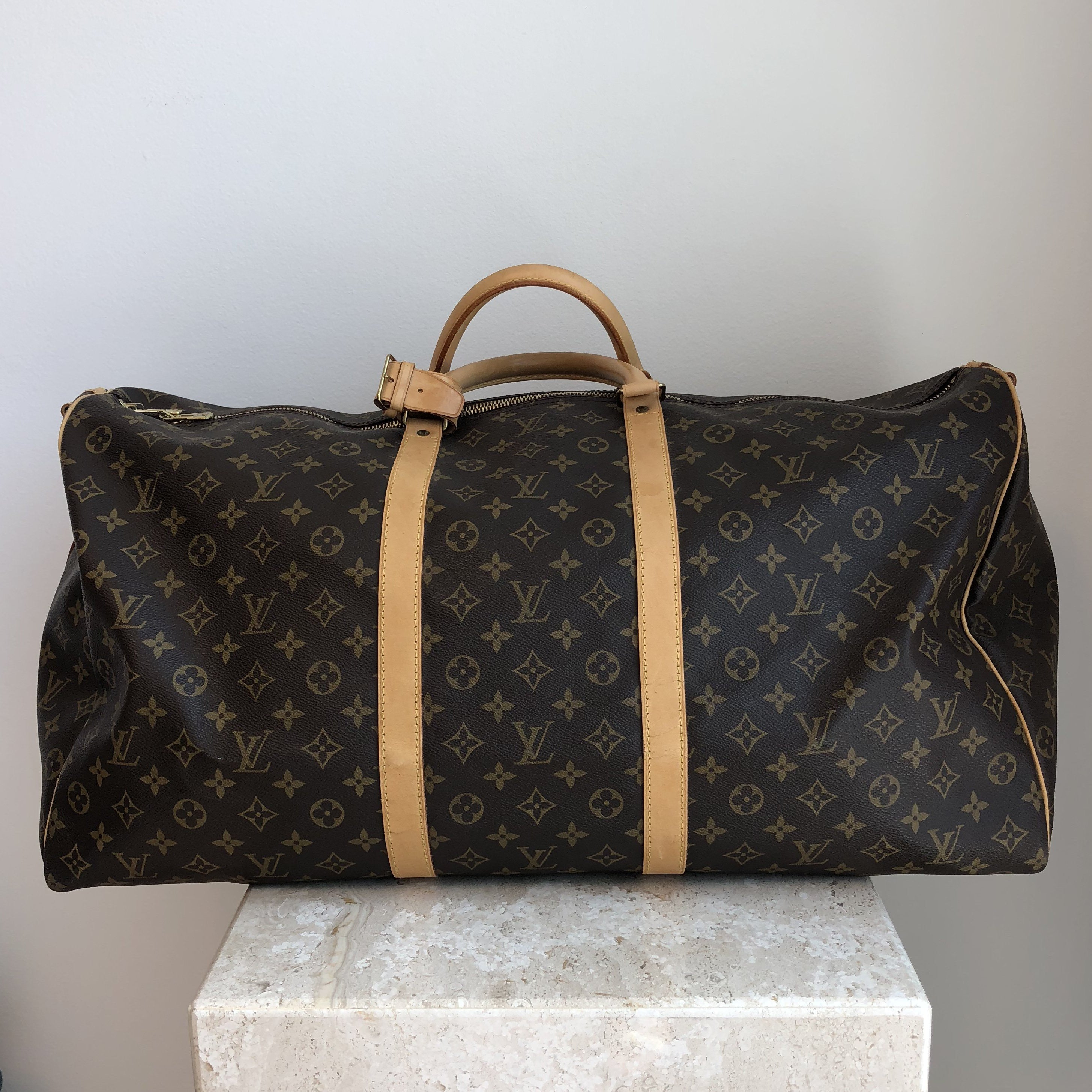 Authentic LOUIS VUITTON Monogram Keepall Bandoulier 60 TH0966