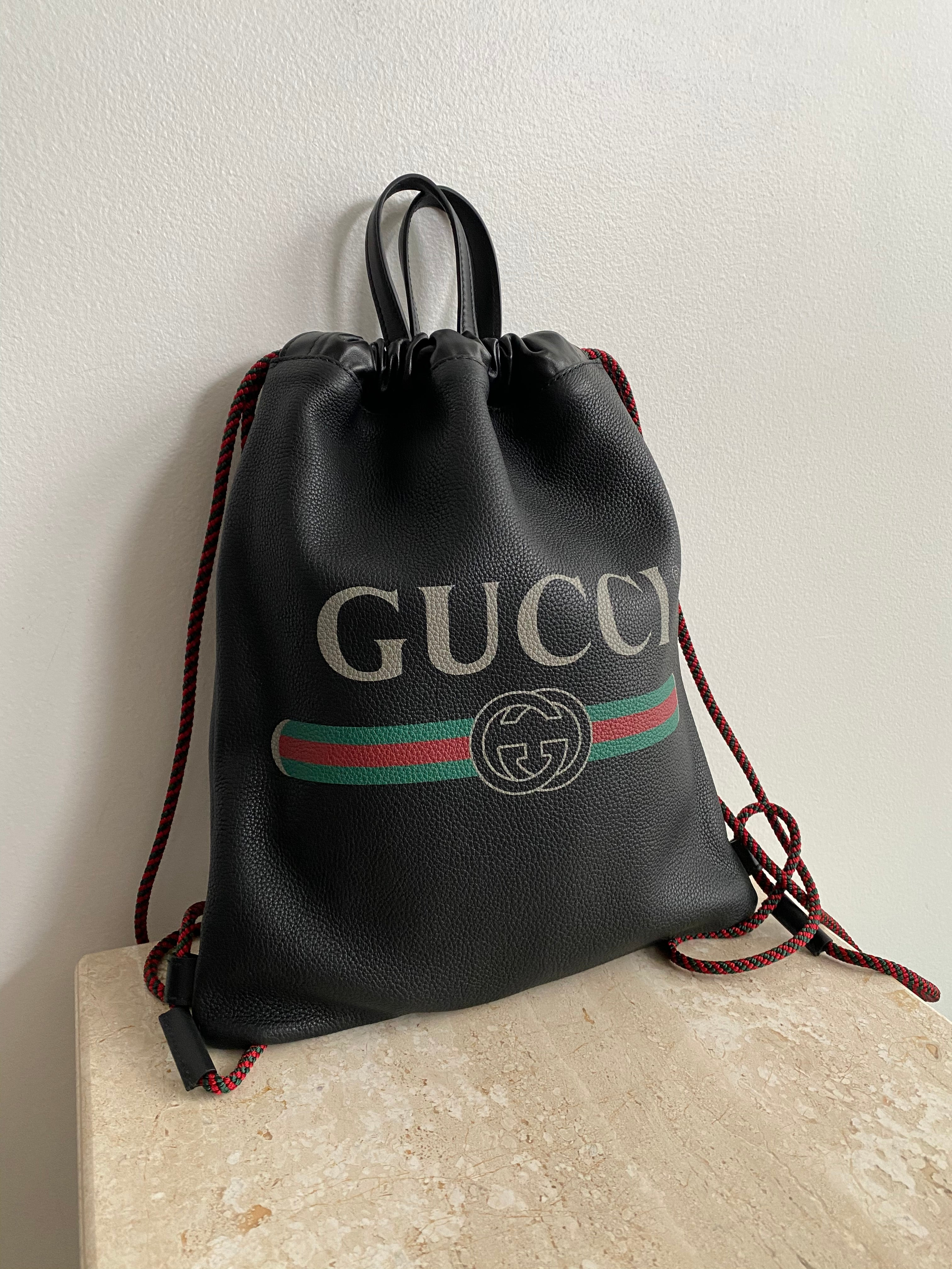 Authentic GUCCI Black Vintage Logo Drawstring Backpack