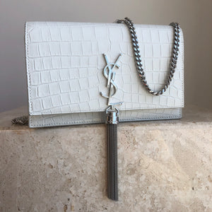 Authentic YVES SAINT LAURENT Small White Kate Chain Wallet Tassel