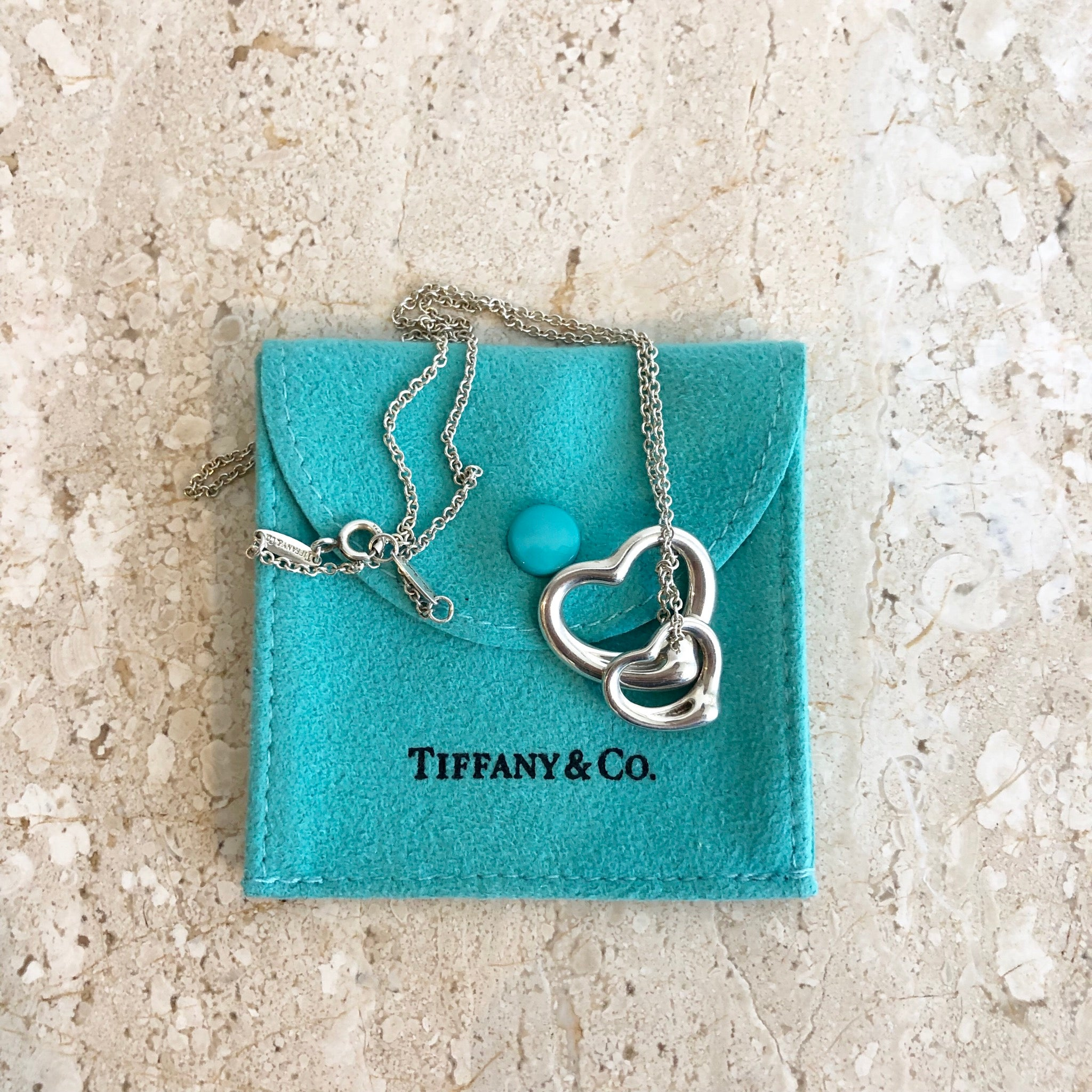 Authentic TIFFANY & CO. Sterling Silver Double Open Heart Pendant