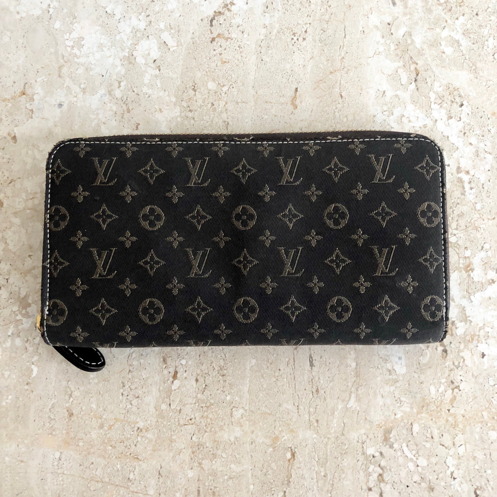 Authentic LOUIS VUITTON Mini Lin Canvas Zip Wallet