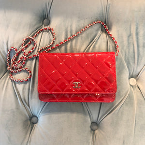 Authentic CHANEL Patent Red Wallet Chain