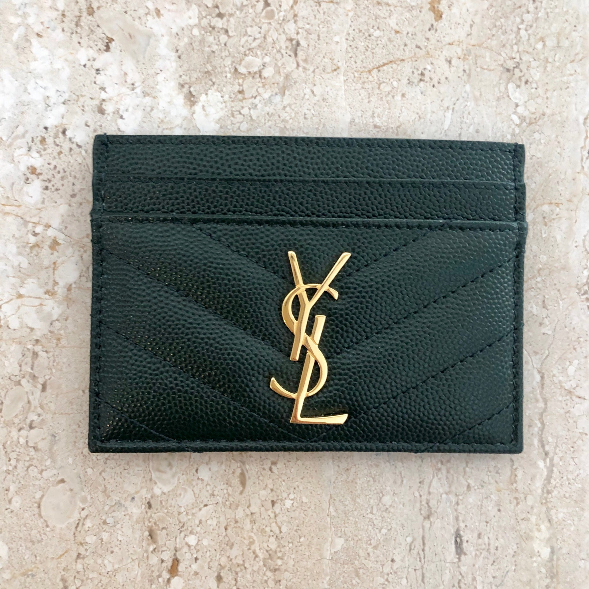 Authentic YVES SAINT LAURENT Forest Green Pebbled Leather Cardholder