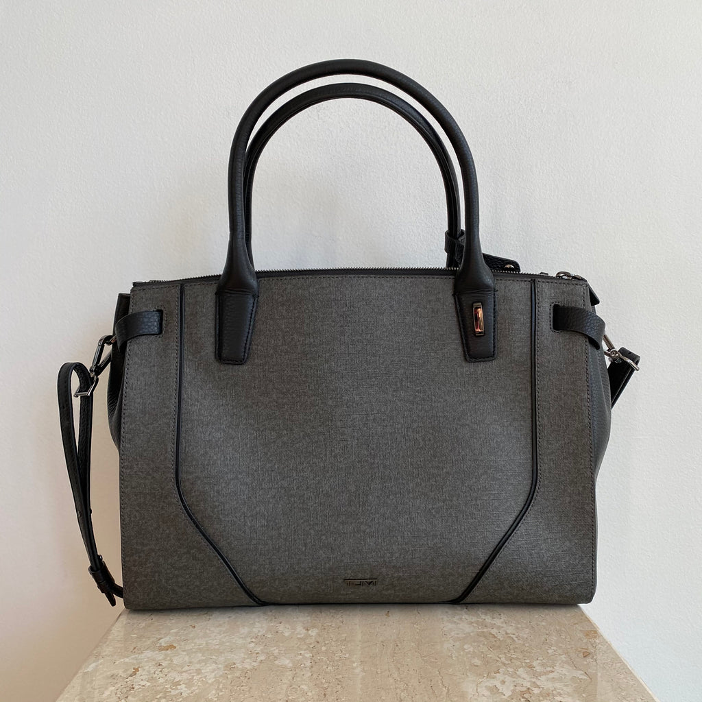 Authentic TUMI Sinclair Black Leather/Grey Coated Canvas Tote