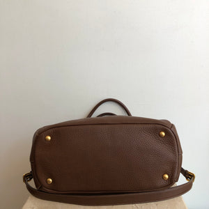 Authentic PRADA Brown Leather Handbag With Strap