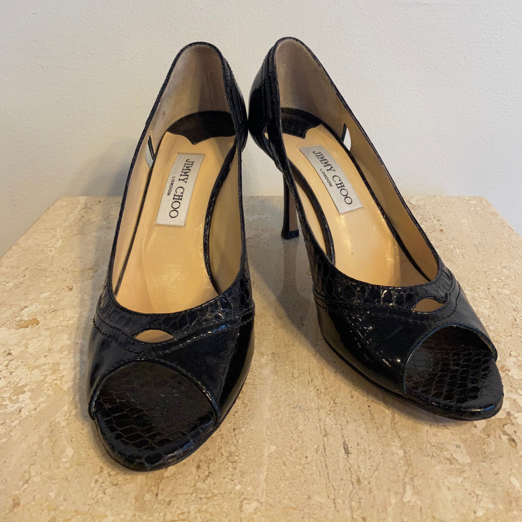 Authentic JIMMY CHOO Black Python Pump Size 9.5
