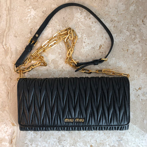 Authentic MIU MIU Black Leather Wallet On chain