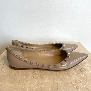 Authentic VALENTINO Rockstud Nude Ballet Flat Shoes - Size 8.5