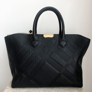 Authentic BURBERRY Dewberry Embossed Check Black Leather Tote