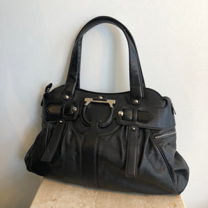 Authentic SALVATORE FERRAGAMO Large Black Shoulder Bag