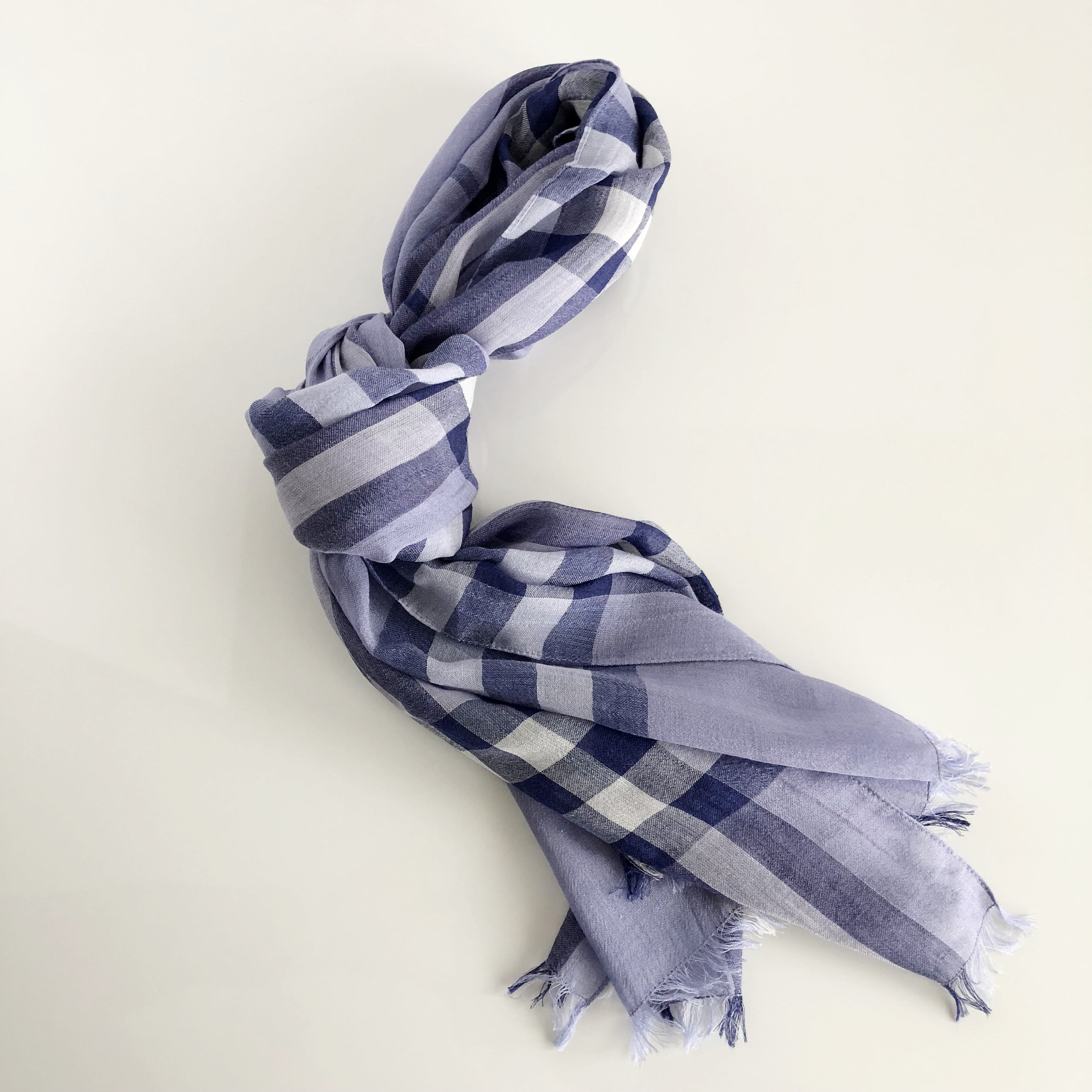 Authentic BURBERRY Gauze Giant Check Blue Scarf