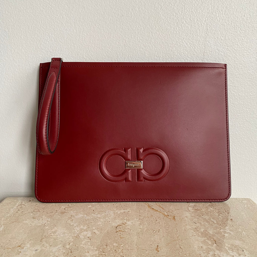 Authentic SALVATORE FERRAGAMO Burgundy Leather Document Holder