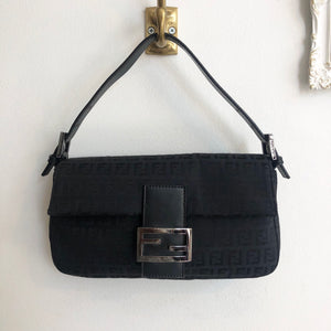 Authentic FENDI Black Zucca Canvas Baguette
