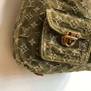 Authentic LOUIS VUITTON Denim Monogram Denim Baggy GM