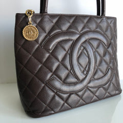 Authentic CHANEL Medallion Brown Caviar Leather Tote