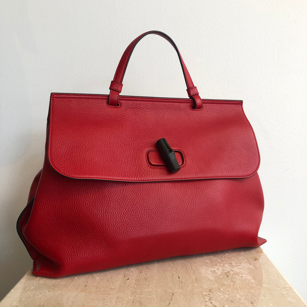 0279cd70838b Authentic GUCCI Daily Red Medium Tote