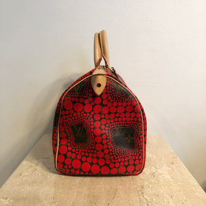 Authentic LOUIS VUITTON Limited Edition Yayoi Kusama Red Monogram Speedy 30